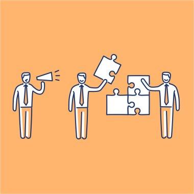 two businessman building puzzle