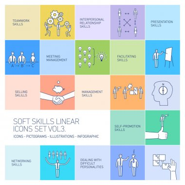 Soft skills linear vector icons
