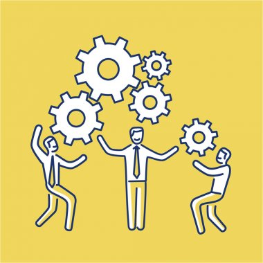 Vector teamwork skills icon of businessmans