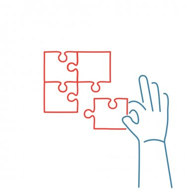 icon of building puzzle finding solution