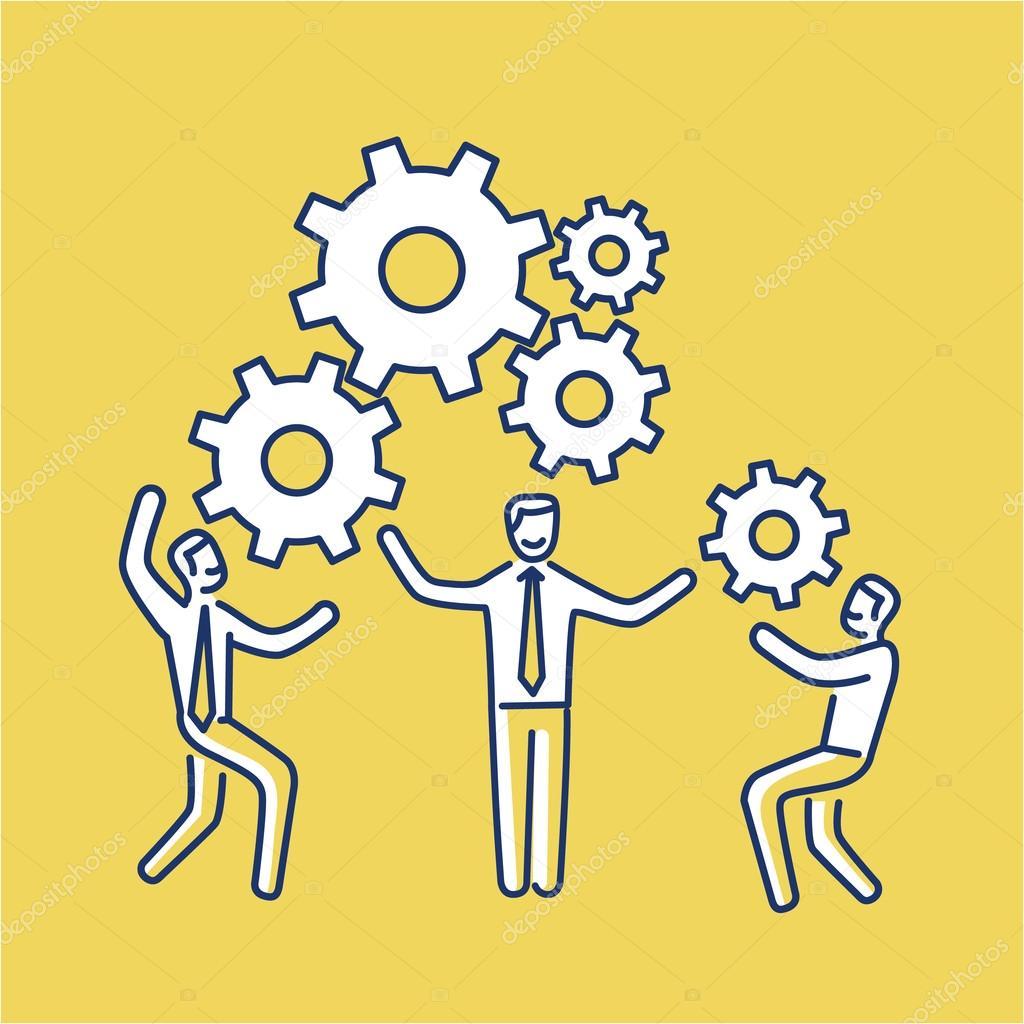 Vector teamwork skills icon of businessmans