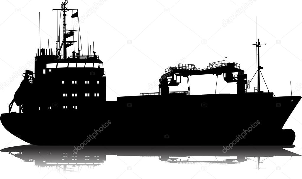 Vector illustration of silhouette of the sea cargo ship ...