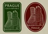 Prague Czech Republic Dancing House Labels