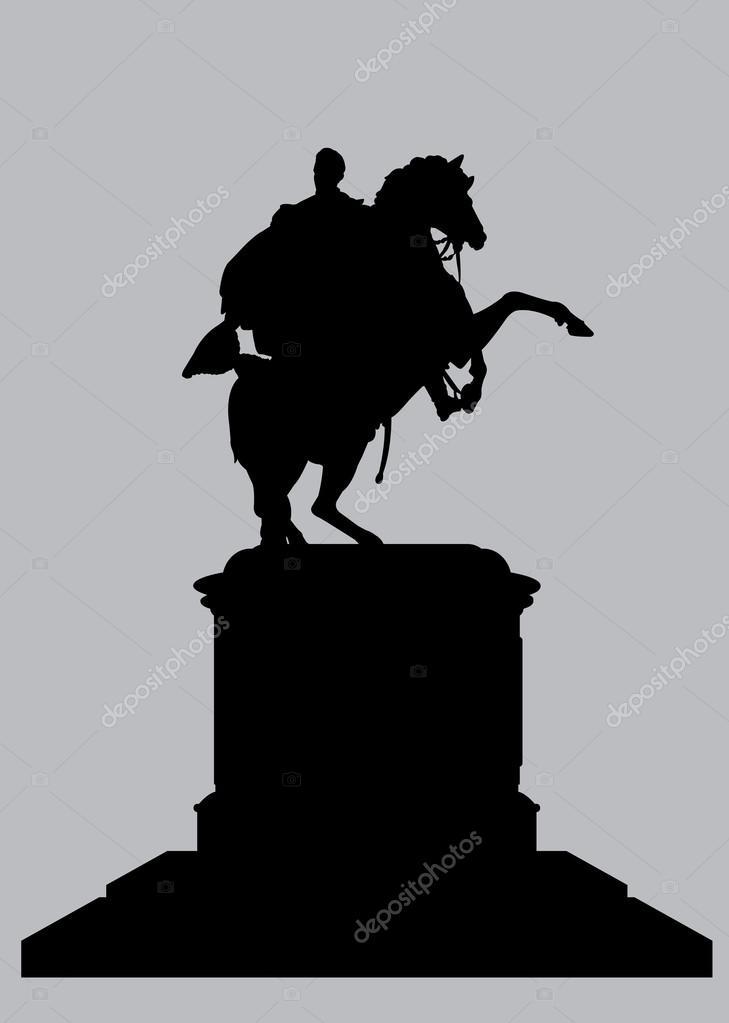 Silhouette Equestrian Statue of Bolivar in Caracas Venezuela