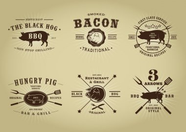 Vintage Retro Pork Barbecue Bar Restaurant Seals Collection