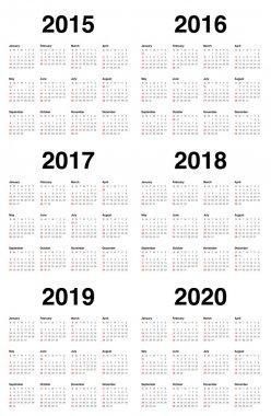 Calender 2015 2016 2017 2018 2019 2020