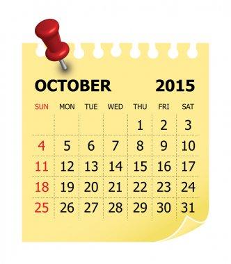 2015 Calendar- October