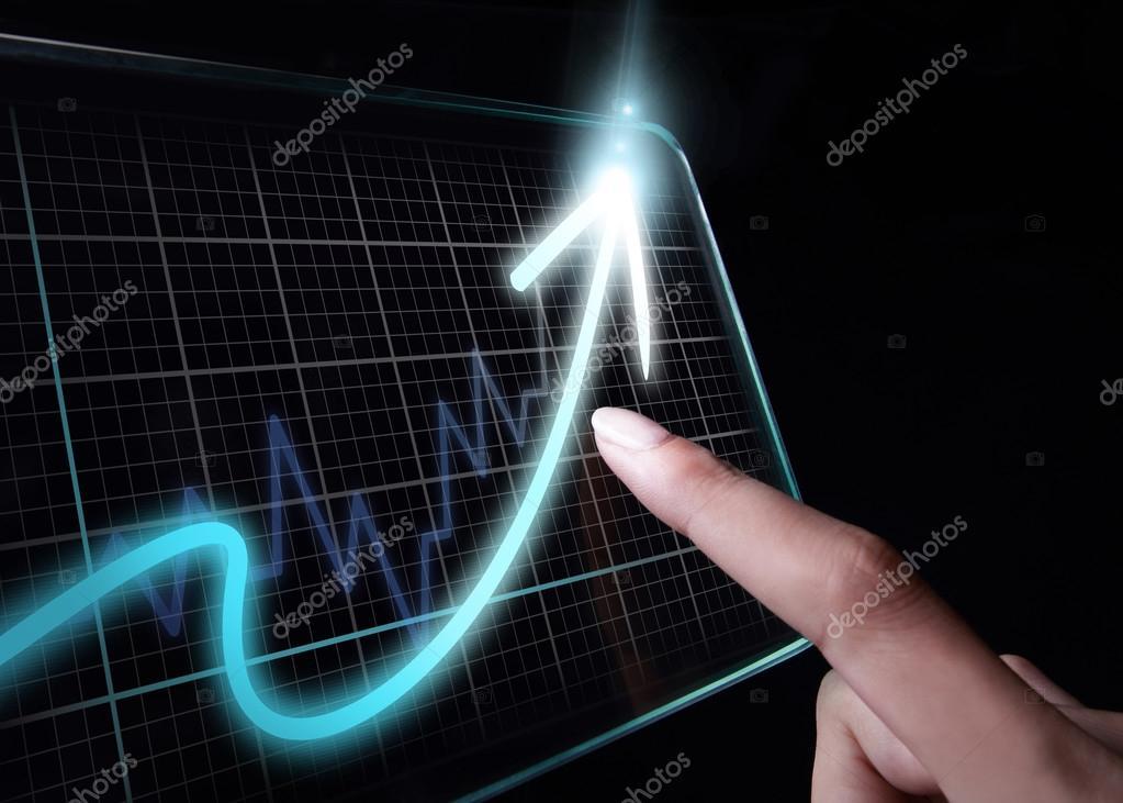 Schuldzuweisungen an Wachstum Diagramm auf Tablet PC — Stockfoto ...