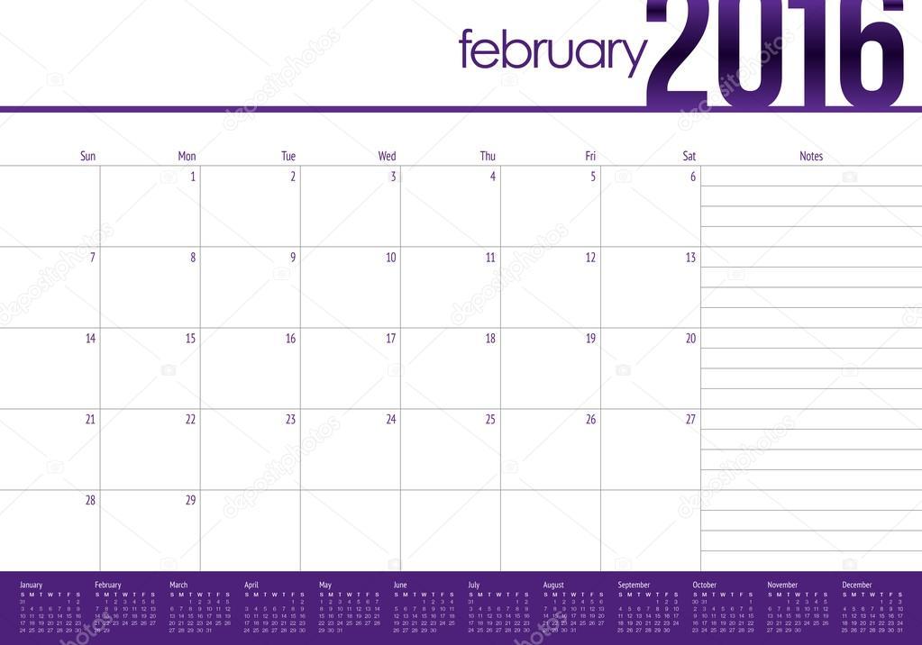 2016 table calendar february stock vector dolphfynlow 87417814