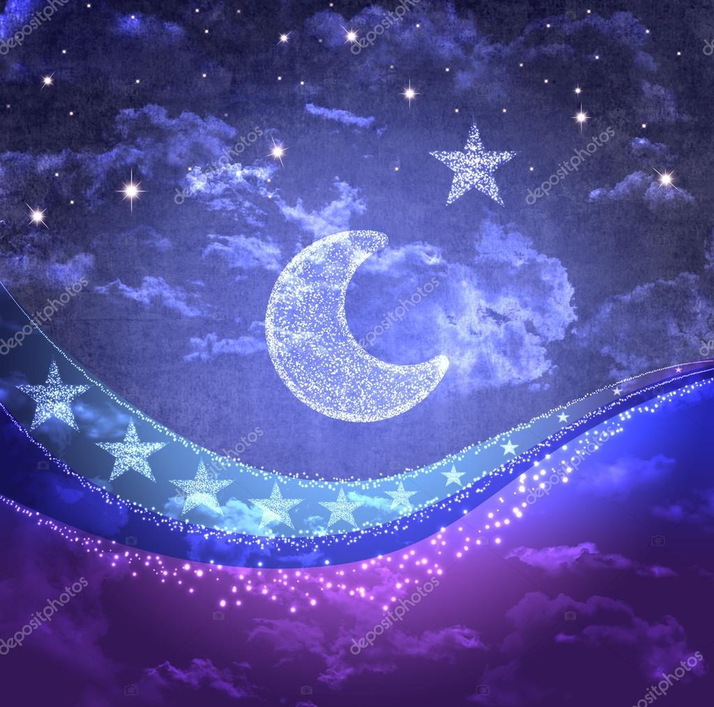 Dibujos Animados Estilo Cielo Nocturno Con Luna Nubes Y