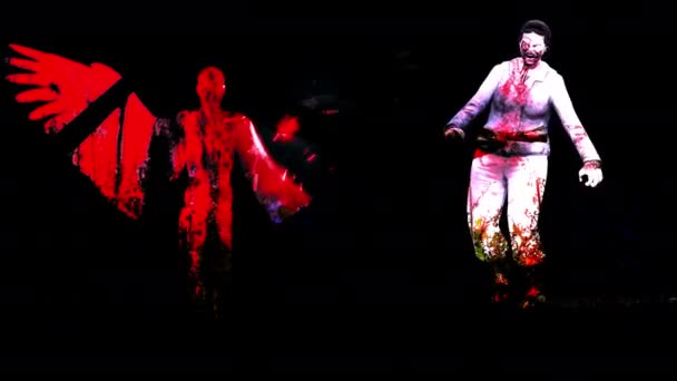 4K Vörös Női Angyal Sziluett Keresztül egy fekete háttér és horror zombi hatásokkal
