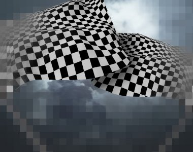 Two large Checkered Flag