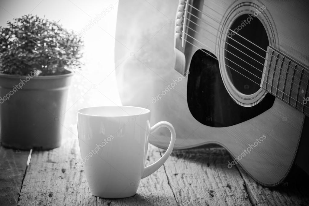 Coffee Cup And Acoustic Guitar Next The Window With Drop Waterblack White Photo By Bgphoto