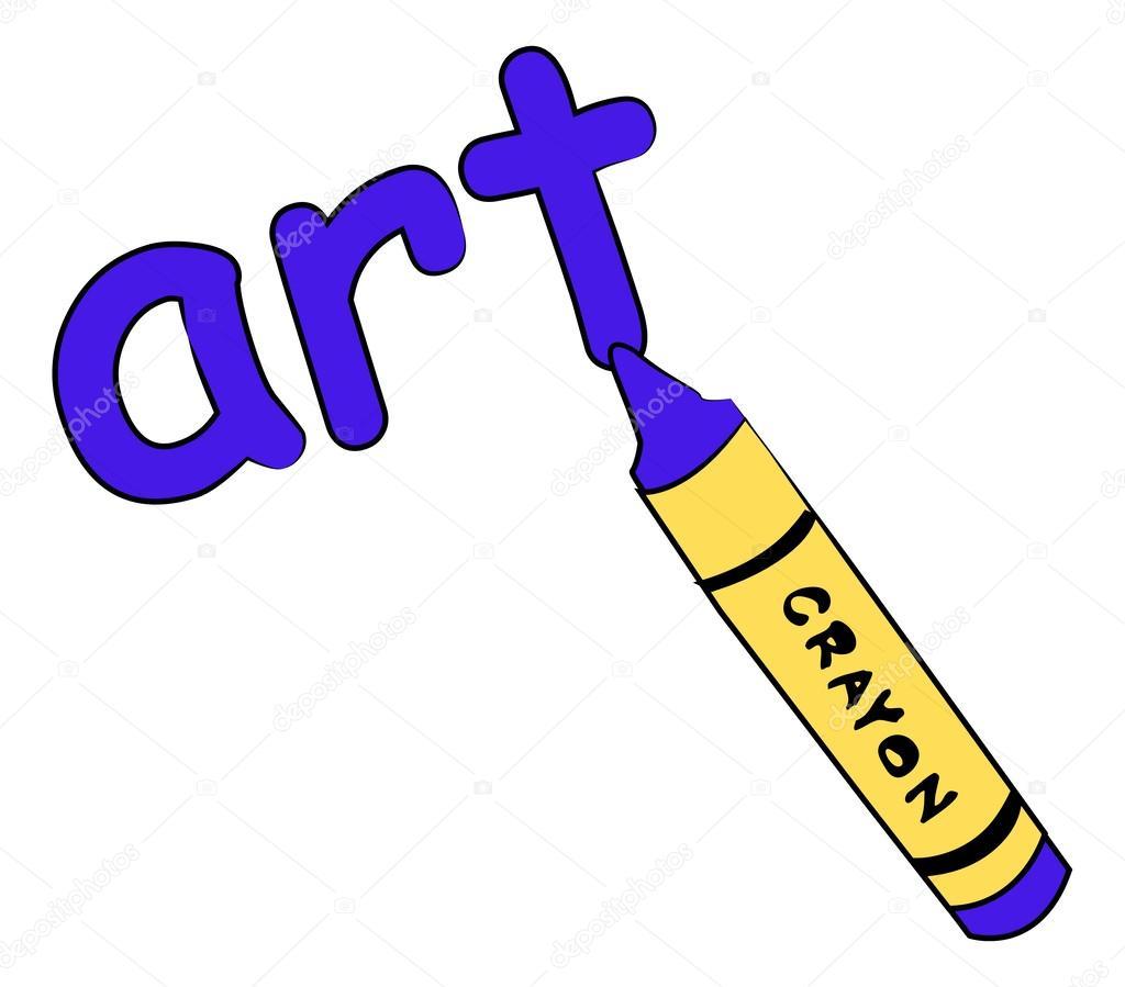 Crayon azul escribiendo la palabra arte — Archivo Imágenes ...