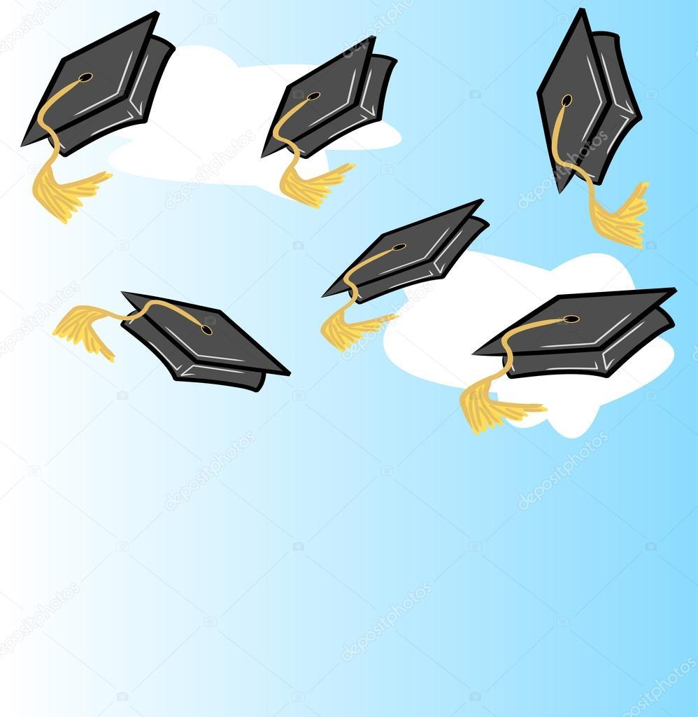 Animado Birrete Azul Birretes De Graduación En El Aire Vector