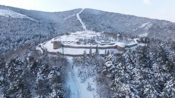 Letecký pohled Historický hrad Sníh