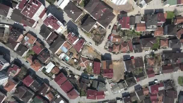 Letecký pohled sousední domy střecha