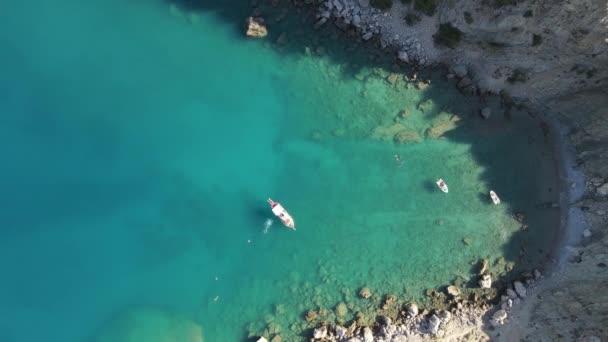 Aerial sea swim boat cove