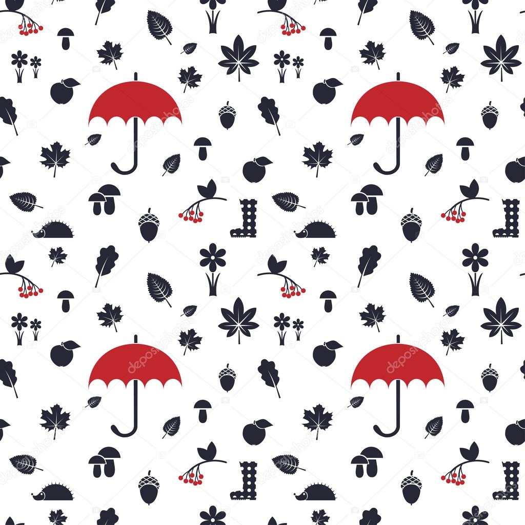 autumn pattern with red umbrella