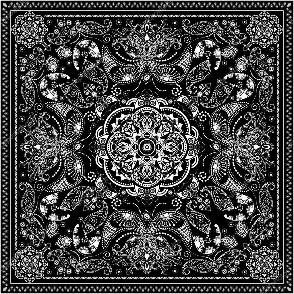 Black and white ornamental square with paisley elements