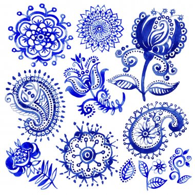 Set of watercolor vector pattern in Paisley style