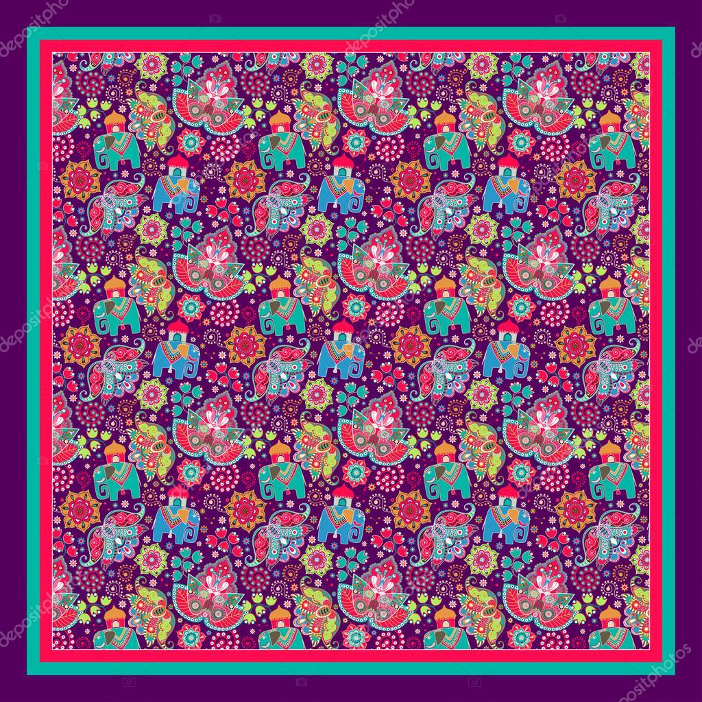 design for pocket square, shawl, textile