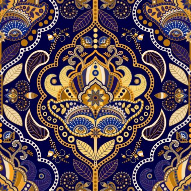 Paisley seamless pattern. Floral ornamental background clip art vector