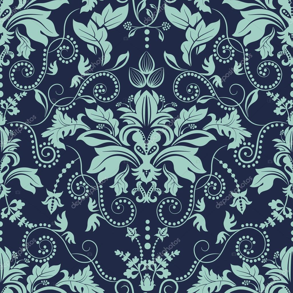 Vintage seamless damask pattern. Dark background