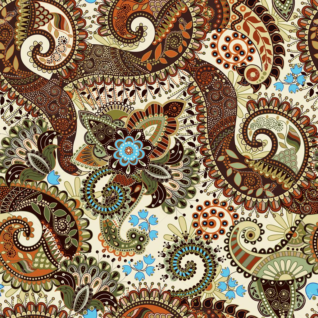 Paisley seamless pattern, floral wallpaper