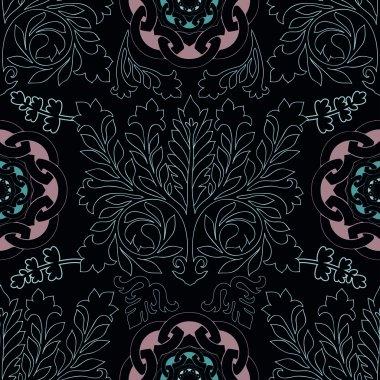 Dark seamless damask pattern, classic walpapper, background