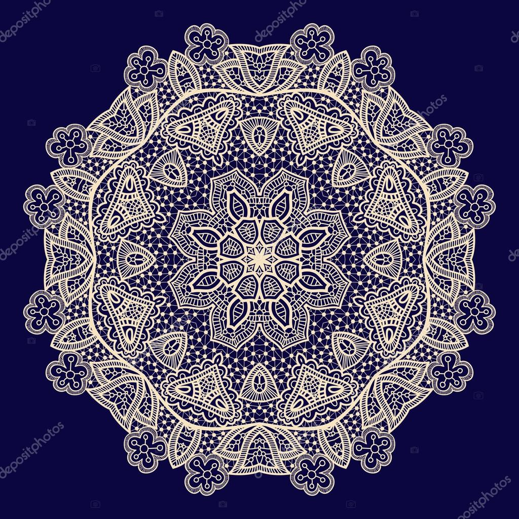 Vector vintage handmade knitted doily, lace pattern — Stock Vector ...