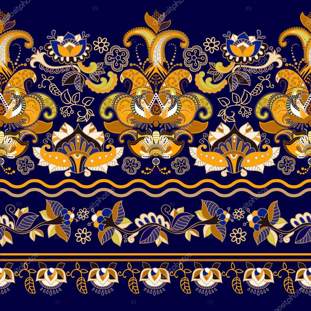 Striped seamless pattern. Floral wallpaper