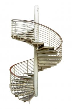 Spiral staircase on white isolate background with clipping path.