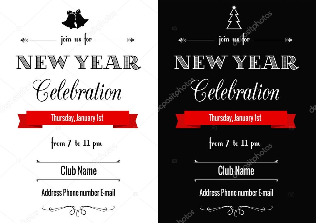 new year invitation in black and white stock vector