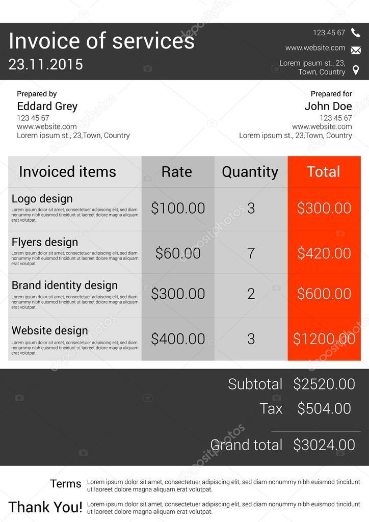 Customizable Invoice Template Design Stock Vector Mariam - Customizable invoice template