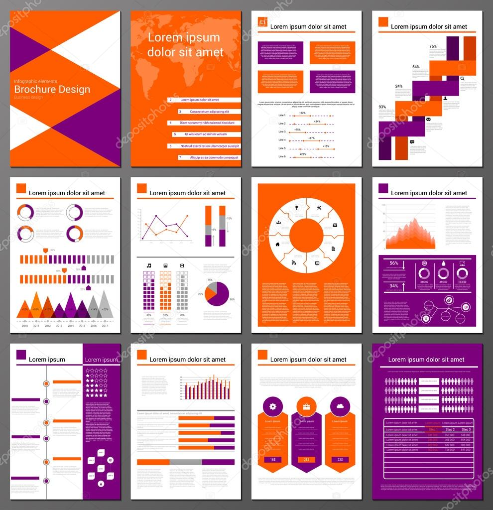 Infographic Brochure And Flyer Design Templates Set Stock Vector - Infographic brochure template