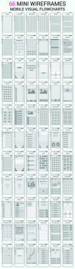 Vector set of 66 mobile phone wireframes, user interface kit for mobile application prototype with flowcharts stock vector