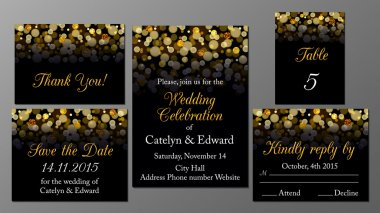 Golden wedding invitation set