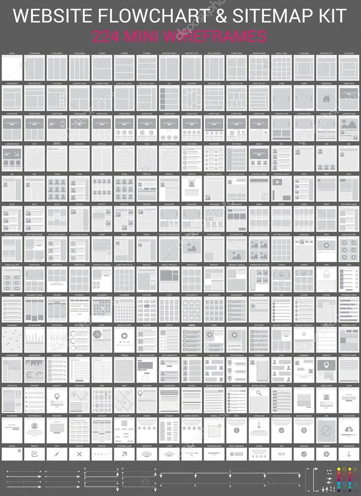 Webseite-Flussdiagramme-Set — Stockvektor © Mariam2707 #82245168