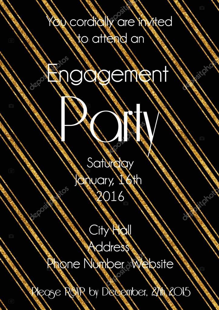Plantilla de diseño de invitación de fiesta de compromiso — Vector ...