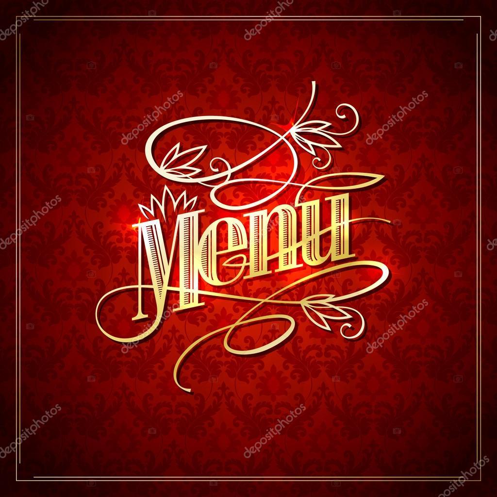 Elegant Restaurant Menu Design With Golden Headline Against Damask Backdrop Stock Vector C Slena 101632616