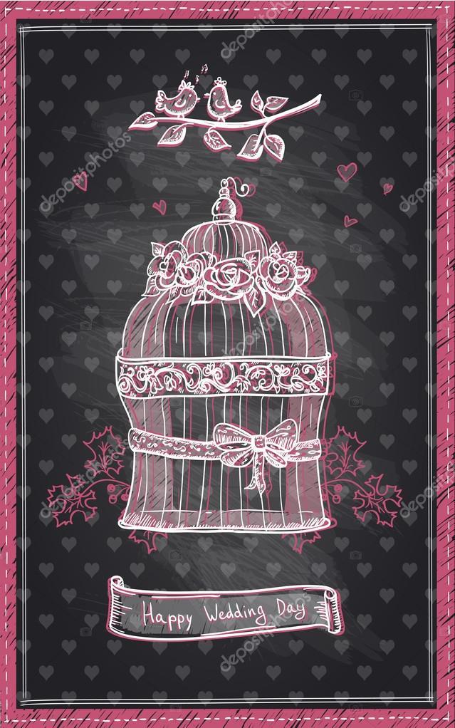 Glückliche Hochzeit Tafel Entwerfen, Handgezeichnete Niedliche Grafik  Einladung U2014 Vektor Von Slena