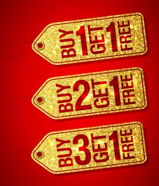 Golden label tags - buy one get one free