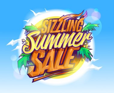 Sizzling summer sale, hot tropical design