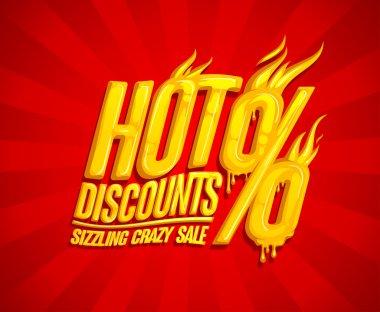 Hot discounts sale design, sizzling crazy sale, honey text style
