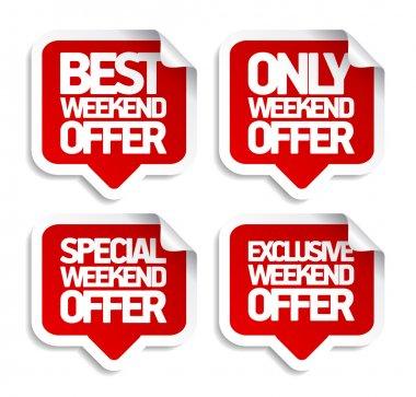 Weekend offer speech bubbles stickers.
