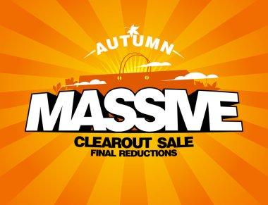 Massive autumn sale design with shopping bag.