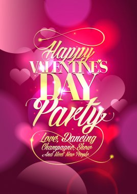 Valentine day party design with pink bokeh hearts backdrop. clip art vector