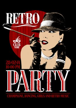 Retro party design with old-fashioned woman in a hat, smoking  cigarette.