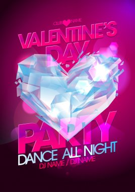 Valentines day party pink design with diamond heart. clip art vector